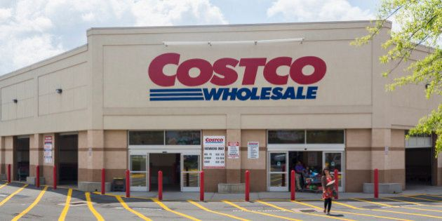 Entrance to large Costco warehouse superstore in Manassas, Virginia,