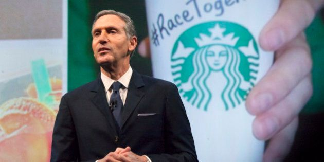 Starbucks Corp Chief Executive Howard Schultz, pictured with images from the company's