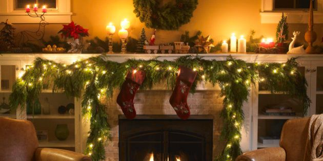 Fireplace with Christmas