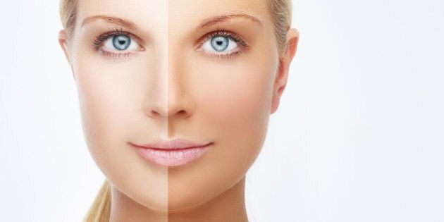 Model's face divided in two parts - tanned and natural.