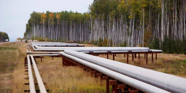 Pipelines run at the McKay River Suncor oil sands in-situ operations near Fort McMurray, Alberta, September 17, 2014. In 1967 Suncor helped pioneer the commercial development of Canada's oil sands, one of the largest petroleum resource basins in the world. Picture taken September 17, 2014.  REUTERS/Todd Korol (CANADA  - Tags: ENERGY ENVIRONMENT)