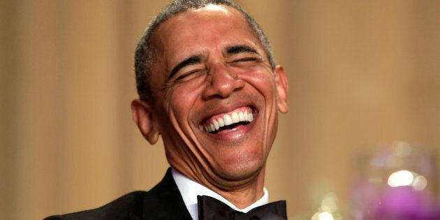 U.S. President Barack Obama laughs at the White House Correspondents' Association annual dinner in Washington,...