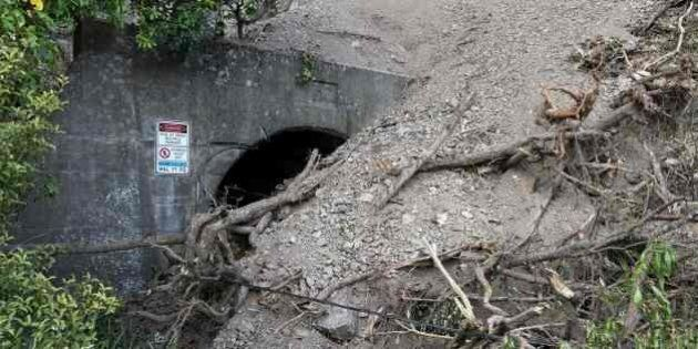 A buried Main North Railway tunnel from the November 14 earthquake is seen south of Kaikoura on November...