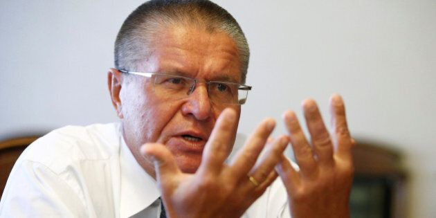 Russian Economy Minister Alexei Ulyukayev speaks during an interview with Reuters in Moscow, Russia,...