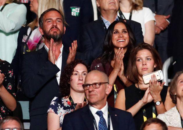 Meghan Markle, la copine du Prince Harry, regarde la cérémonie d'ouverture des Invictus Games à Toronto, le 23 septembre 2017