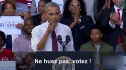 Interrompu par un partisan de Donald Trump, Barack Obama donne une leçon de