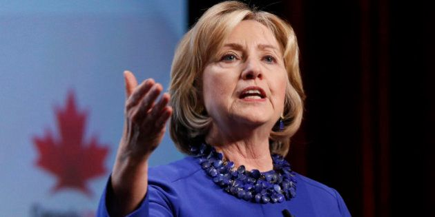 Former U.S. Secretary of State Hillary Clinton speaks during the Canada2020 conference in Ottawa October...