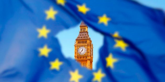 Brexit: Flag of EU with Big Ben in the hole