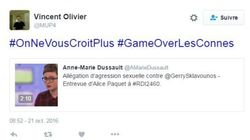 #Gameoverlesconnes: Vincent Olivier s'en prend aux présumées victimes de