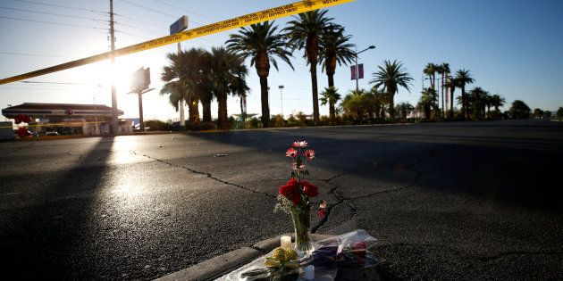 Flowers are pictured near the site of the mass shooting at the Route 91 Harvest Country Music Festival...
