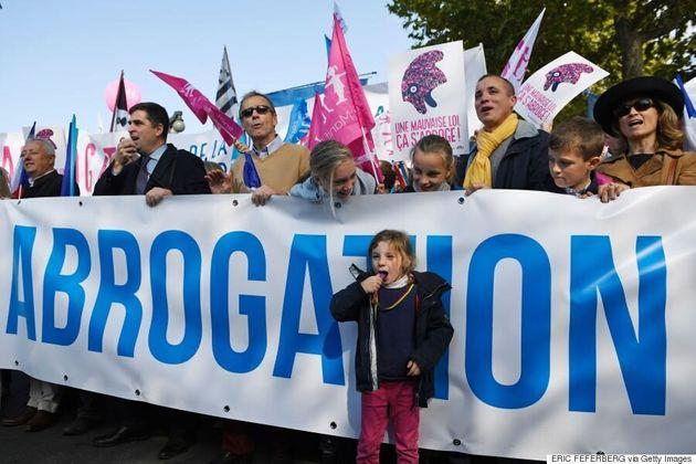 Manifestation contre le mariage homosexuel à Paris ce