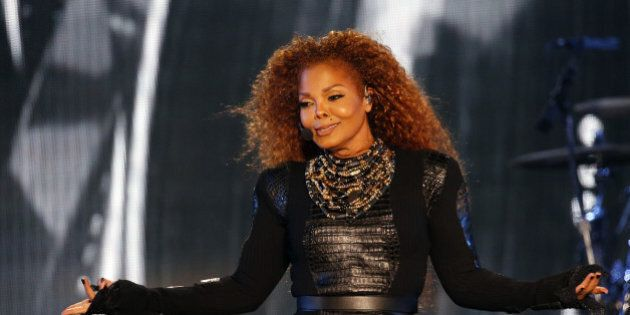US singer Janet Jackson performs during the Dubai World Cup horse racing event on March 26, 2016 at the...