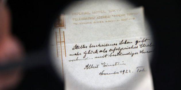 Une note manuscrite du physicien Albert Einstein