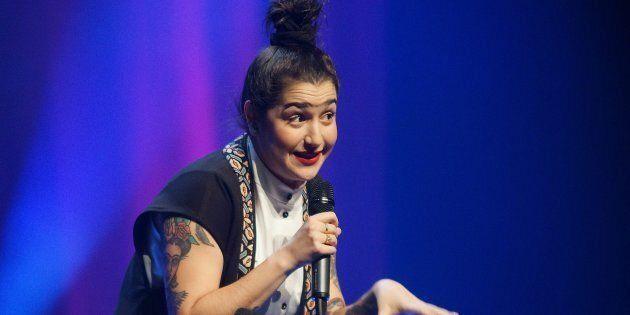 Mariana Mazza lors d'une représentation de «Femme ta gueule» à la salle André-Mathieu à Laval en novembre 2016