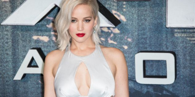Actress Jennifer Lawrence poses for photographers upon arrival at the screening of the film 'X-Men Apocalypse'...
