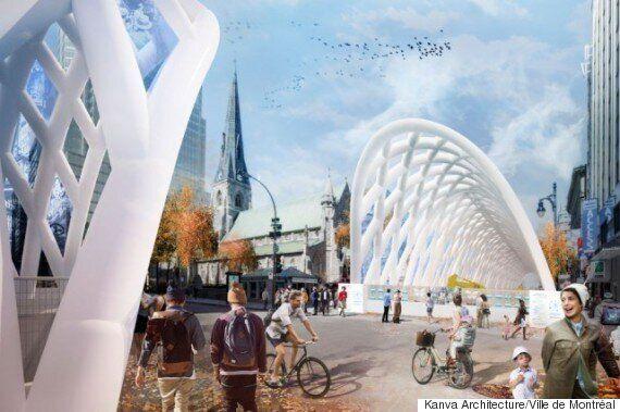Des tunnels gonflables géants pour «décorer» le chantier de la rue Sainte-Catherine ouest à