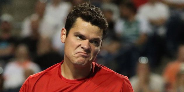 TORONTO, ON- JULY 29  - Milos Raonic reacts after missing a shot on his way to a loss to Gael Monfils in quarterfinal action  at the  Rogers Cup ATP 1000 tournament semi-final action at the Aviva Centre in Toronto. July 29, 2016.        (Steve Russell/Toronto Star via Getty Images)