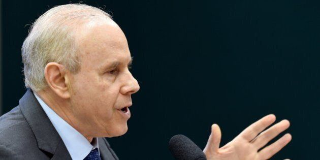 Former Brazilian Economy Minister Guido Mantega speaks during the public hearing of the Parliamentary...