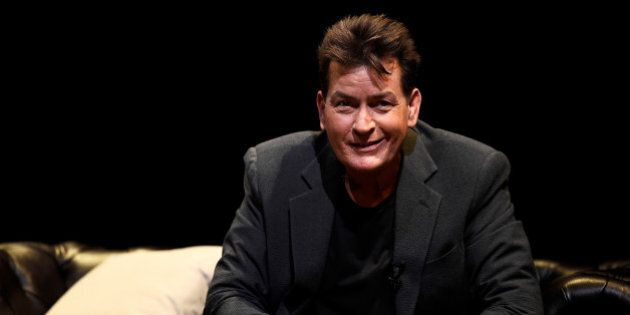 U.S. actor Charlie Sheen speaks during 'An Evening with Charlie Sheen' at the Theatre Royal, Drury Lane...