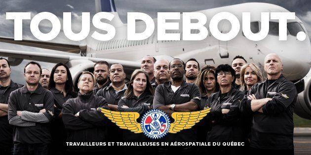 Image de la campagne « Tous Debout » du Syndicat des Machinistes qui a démarré le 16 octobre 2017 et qui vise à rallier la classe politique et l'ensemble des citoyens du Québec derrière son industrie aérospatiale. Le Syndicat prévoit mener différentes actions durant cette campagne.