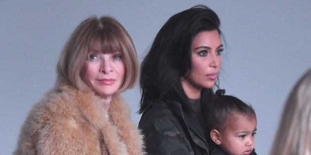 NEW YORK, NY - FEBRUARY 12: (L-R) Anna Wintour, Kim Kardashian and North West attend the adidas show...