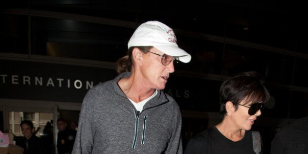 LOS ANGELES, CA - APRIL 02: Bruce Jenner and Kris Jenner are seen at LAX on April 02, 2014 in Los Angeles,...