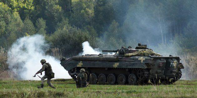 Des soldats ukrainiens prennent part à un exercice militaire international en septembre