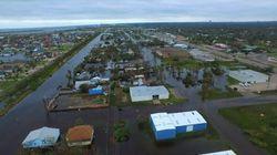 Vus du ciel, les dégâts de la tempête Harvey sur la côte