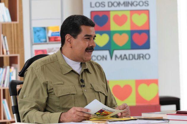 Le président Nicolas Maduro durant son émission de télé et de radio hebdomadaire