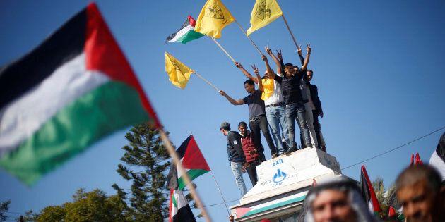 Des Palestiniens ont participé à une manifestation contre la déclaration de Balfour, à Gaza, le 2 novembre