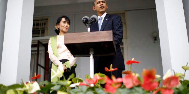 En 2012, le président Barack Obama a reçu Aung San Suu Kyi, récipiraire du prix Nobel de la Paix, à la