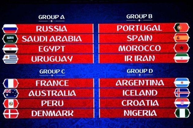 Les groupes en vue de la Coupe du monde de soccer en 2018 sont