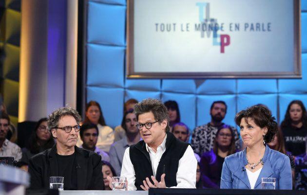 François Delorme, Dominique Champagne et Catherine Morency à «Tout le monde en parle» le 18 novembre 2018.