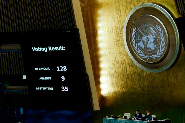 UN member-states were poised to vote on a motion rejecting US recognition of Jerusalem as Israel's capital, after President Donald Trump threatened to cut funding to countries that back the measure. / AFP PHOTO / EDUARDO MUNOZ ALVAREZ (Photo credit should read EDUARDO MUNOZ ALVAREZ/AFP/Getty Images)