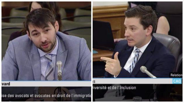 Le président de l'Association québécoise des avocats et avocates en droit de l'immigration, Guillaume Cliche-Rivard, et le ministre de l'Immigration, de la Diversité et de l'Inclusion, Simon Jolin-Barrette.
