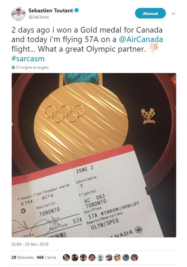Sébastien Toutant s'excuse pour son tweet sur son vol de retour des Jeux