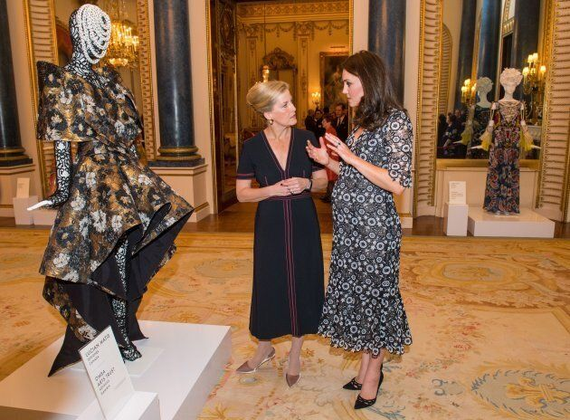 The duchess and Sophie, Countess of Wessex at the Commonwealth Fashion Exchange initiative on Feb. 19, 2018.