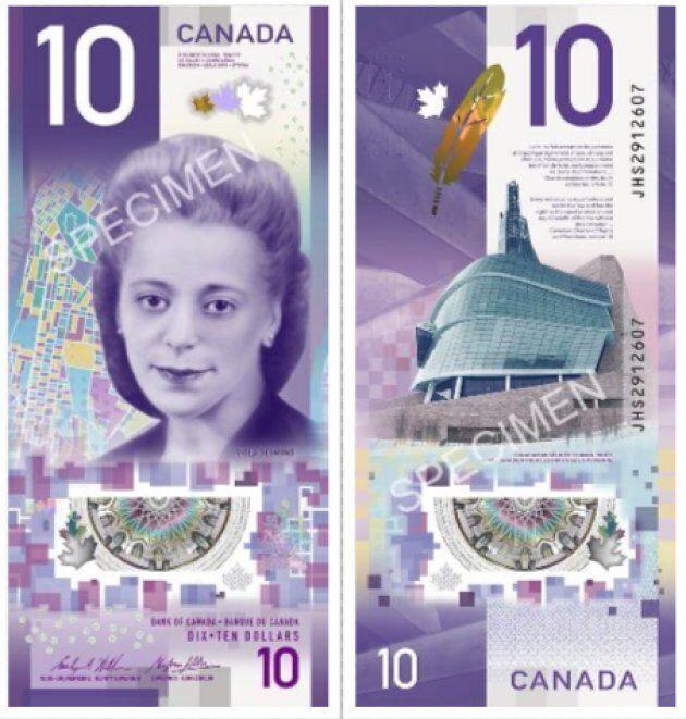 Voici le nouveau billet de 10 $ montrant Viola