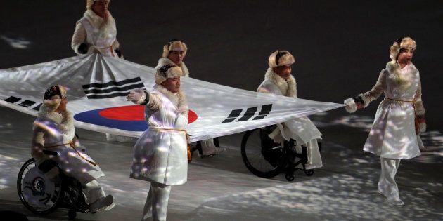 Le drapeau sud-coréen durant les cérémonies