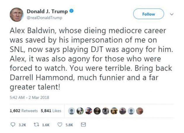 Donald Trump s'en prend à nouveau à Alec (ou Alex?)