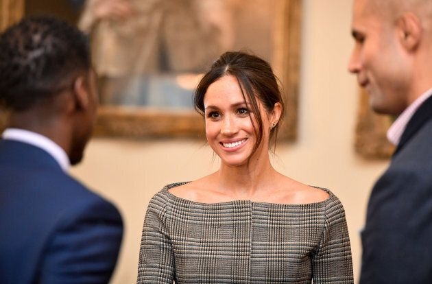 Meghan Markle chats with people during a visit to Cardiff Castle on Jan. 18,