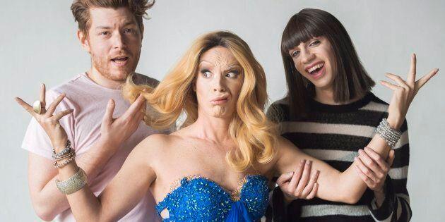 Thomas Leblanc et Tranna Wintour, posent avec Crystal Slippers, déguisée en Céline
