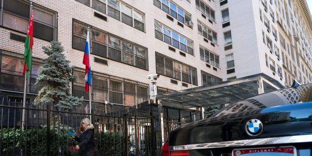 Un bâtiment qui abritait des diplomates russes à New