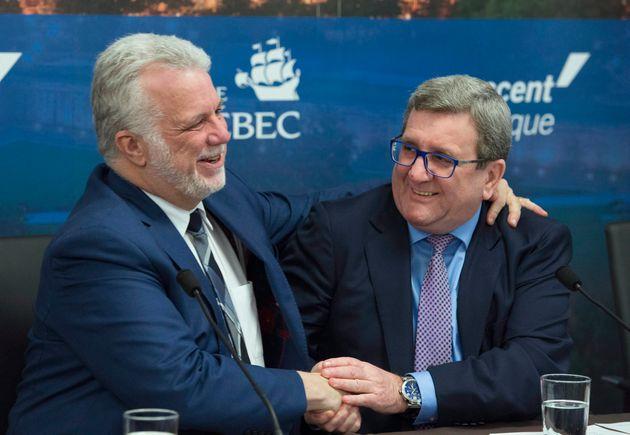 Philippe Couillard et Régis Labeaume lors de l'annonce du projet de transport en commun