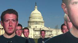 Des centaines de Mark Zuckerberg en carton devant le