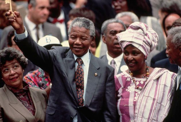 Nelson et Winnie Mandela en visite à New York, en