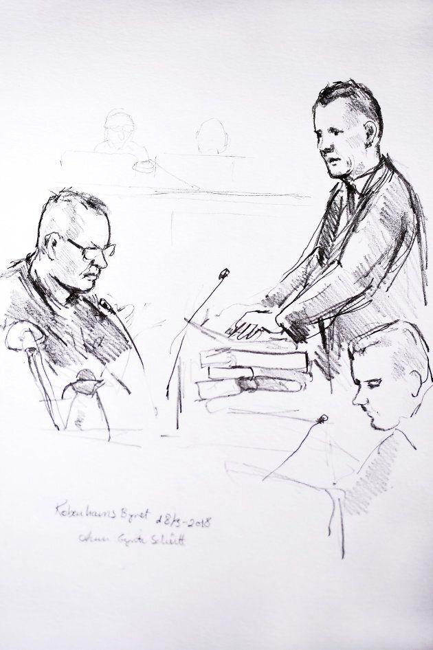 Illustration de Peter Madsen et du procureur Jakob Buch-Jepsen lors de la première journée du