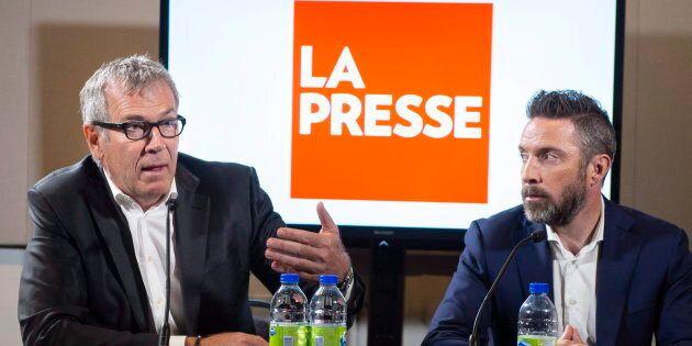 L'éditeur de La Presse, Guy Crevier, et le président du quotidien, Pierre-Elliott Levasseur, durant une...
