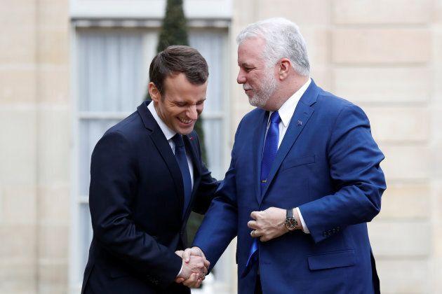 Emmanuel Macron a eu un entretien avec Philippe Couillard lors du voyage de ce dernier en France, en...