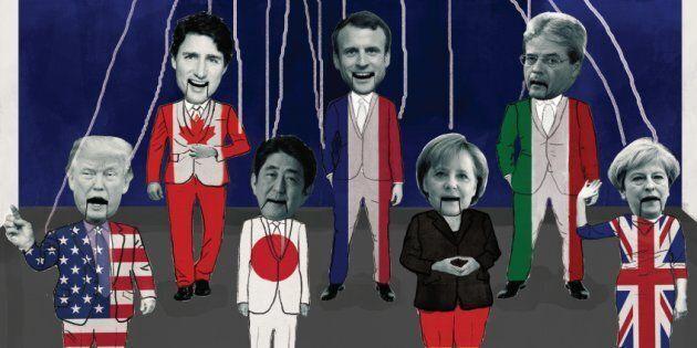 Cette image montrant les leaders du G7 déguisés en marionnettes est utilisée pour promouvoir la manifestation...